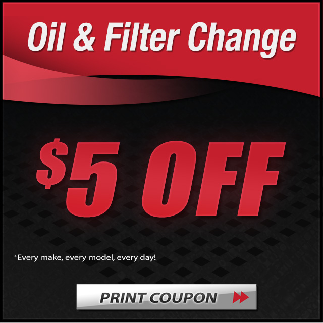 Oil Change 5 dollar off Coupon