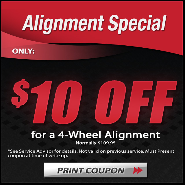 10 dollar off 4 wheel alignment coupon