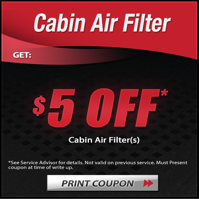 5 dollar off cabin air filter coupon