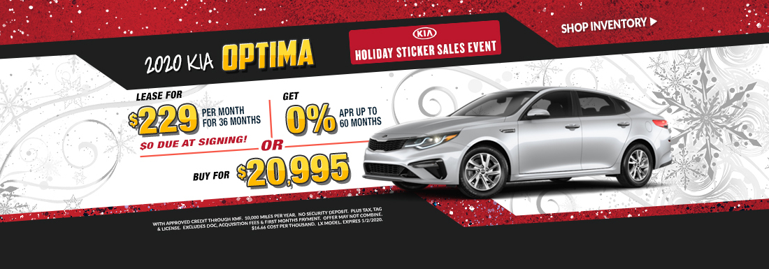 Lease a new Optima for as low as $229 per month!