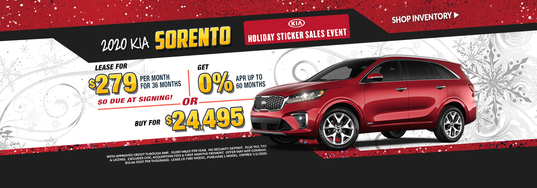 Lease a new Sorento for as low as $279 per month!