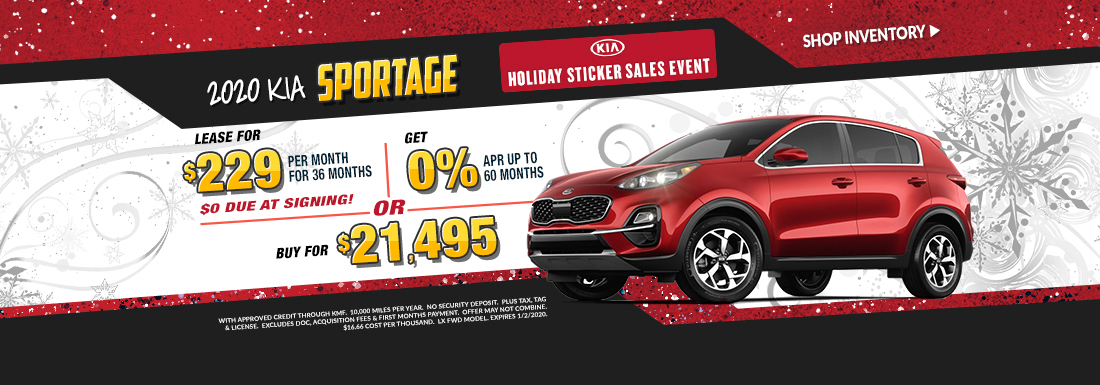 Lease a new Sportage for as low as $229 per month!