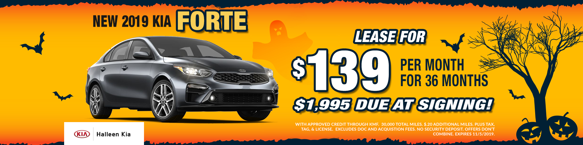 New 2019 Kia Forte - lease for $189 for 36 months with zero due at signing!