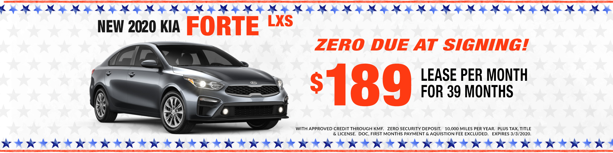 2020 KIA FORTE- LEASE 36 MONTHS- $1999 DUE AT SIGNING- JUST $139 PER MONTH
