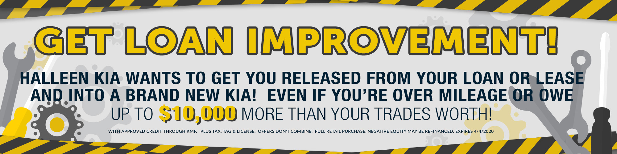 GET LOAN IMPROVEMENT!  HALLEEN KIA WANTS TO GET YOU RELEASED FROM YOUR LOAN OR LEASE AND INTO A BRAND NEW KIA!  EVEN IF YOU'RE OVER MILEAGE OR OWE UP TO $6,000 MORE THAN YOUR TRADES WORTH!