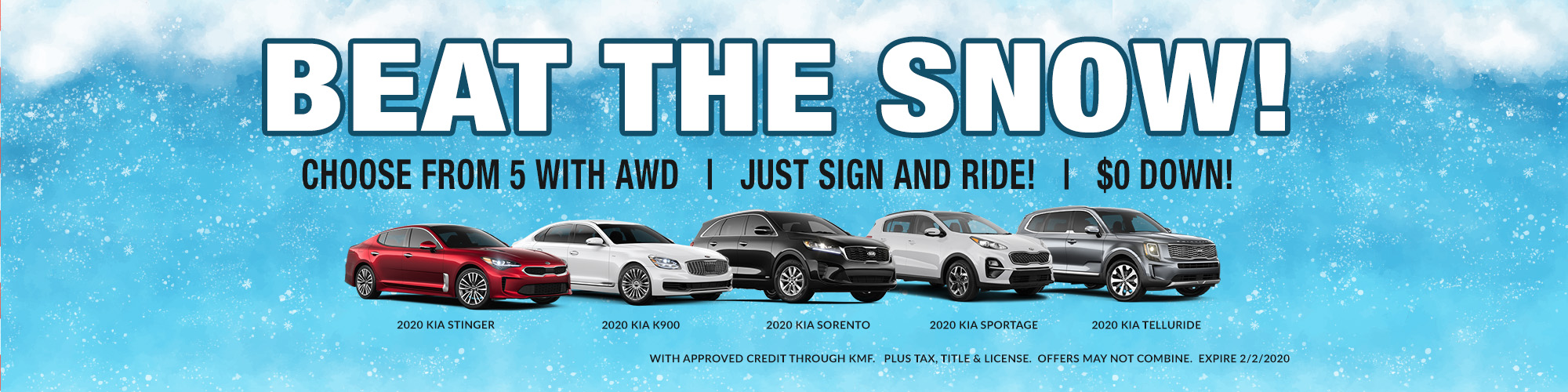 BEAT THE SNOW! CHOOSE FROM 5 WITH AWD- JUST SIGN AND RIDE- $0 DOWN!