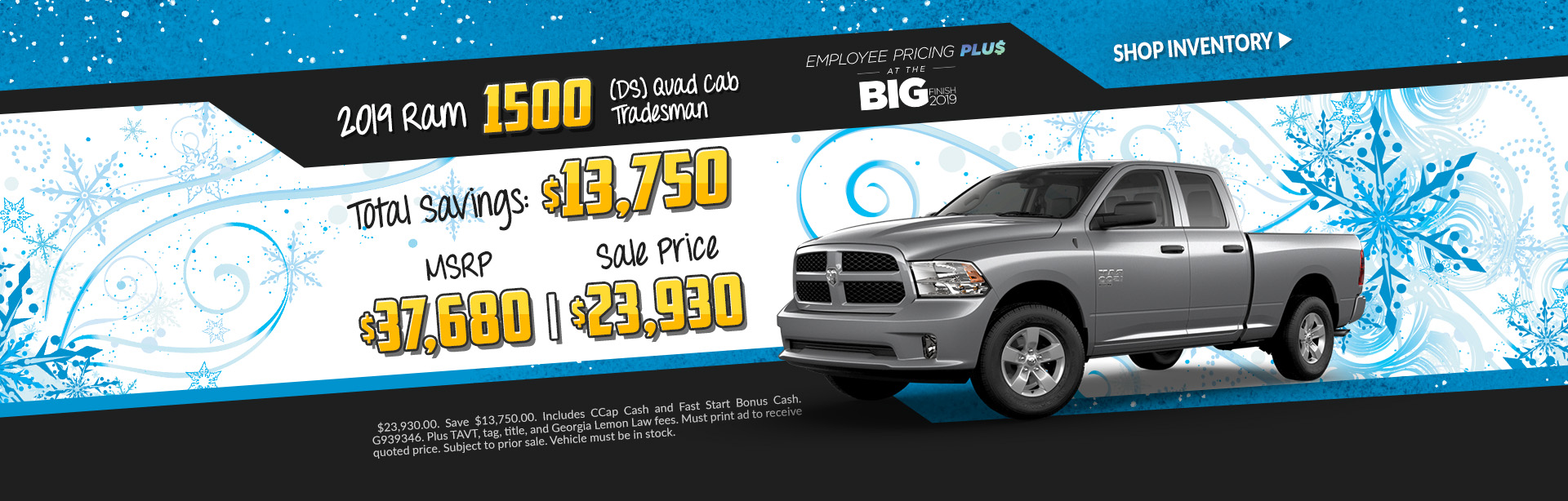 New 2019 Ram 1500 Crew Cab Big horns - Lease for $329 per month