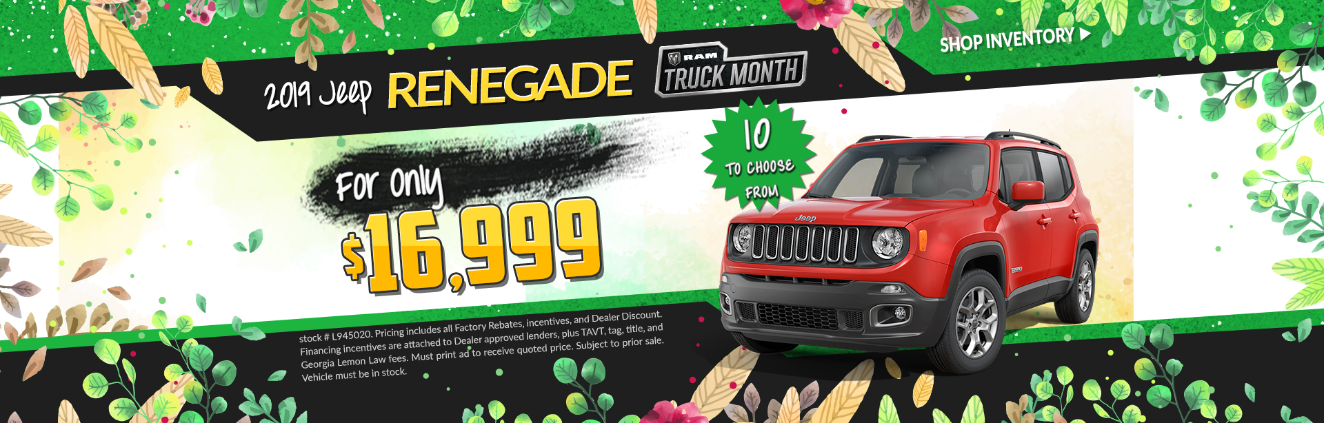 2019 Jeep Renegade - For Only $16,999