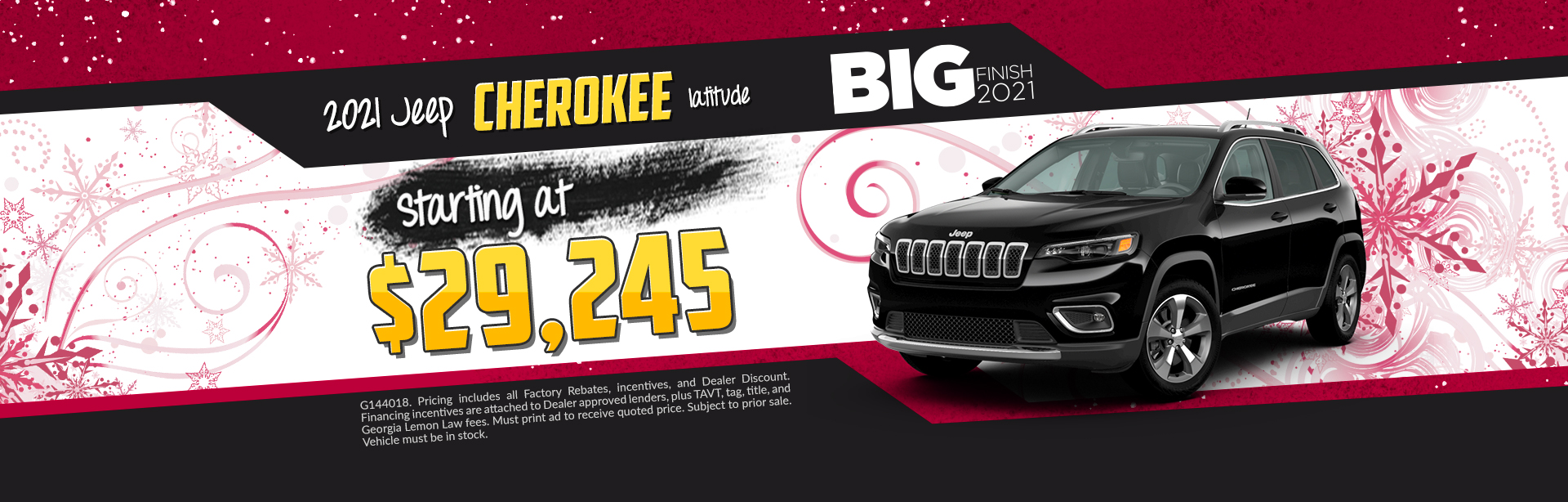 2020 Jeep Cherokee - Lease for $325 per month